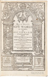 Florio, John (1553-1625) Queen Anna's New World of Words, or Dictionarie of the Italian and English Tongues.