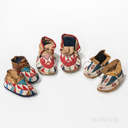Three Pairs of Children's Beaded Hide Moccasins