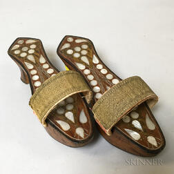 Pair of Mother-of-pearl-inlaid Shoes