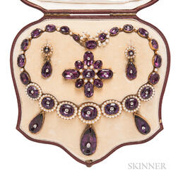 Early Victorian Gold, Amethyst, and Diamond Demi Parure