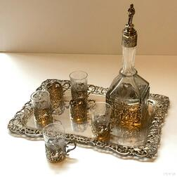 German .800 Silver and Glass Cordial Set