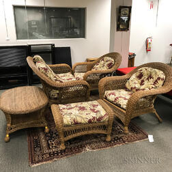 Contemporary Five-piece Suite of Wicker Patio Furniture.     Estimate $300-400