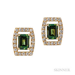 18kt Gold, Green Tourmaline, and Diamond Earclips, David Webb