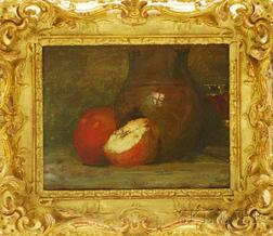 Attributed to Louis Orr (American, 1879-1961)      Still Life with Apples and Ceramic Vase.