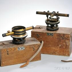 Two Bostrom-Brady Manufacturers Surveyors Levels, Atlanta, Georgia, model numbers 4 and 5, both with 10-in. scopes with fine adjustmen