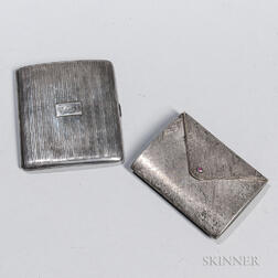 Italian Sterling Silver Pocketbook-form Compact and an English Sterling Silver Cigarette Case