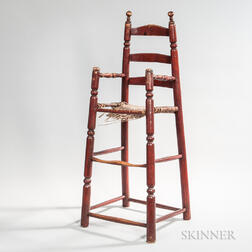 Red-painted Turned High Chair