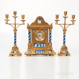 Three-piece Gilt-bronze-mounted and Wedgwood Jasper-inset Clock Garniture