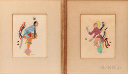 Two Spencer Asah Indian Dancing Paintings