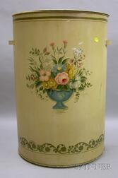 Martha Cahoon Hand-painted Vase of Flowers Decorated Lidded Demilune Tin Hamper