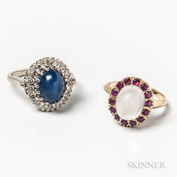 14kt Gold, Moonstone, and Ruby Ring and a 14kt White Gold, Synthetic Star Sapphire, and Diamond Ring