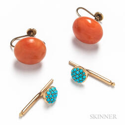 Pair of Coral Earclips and Two Turquoise Shirt Studs