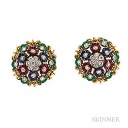 18kt Gold Gem-set Flower Earclips