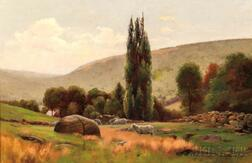 Jonas Joseph LaValley (American, 1858-1930)      Sheep in a Hillside Pasture