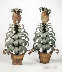 Pair of Painted Metal Pineapple-form Sconces