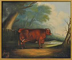 Anglo/American School, Mid-19th Century      Portrait of a Brown Bull in a Pasture