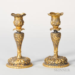 Two Gorham Sterling Silver-gilt Candlesticks