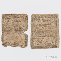 February 17, 1776 $1/3 and $1/2 Continental Currency Notes.     Estimate $200-400