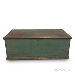 Blue-painted Pine Six-board Chest.