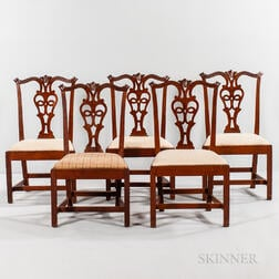 Set of Five Chippendale Carved Mahogany Side Chairs