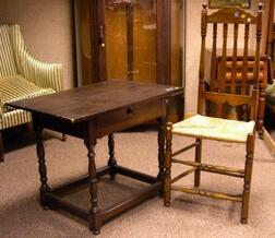 Banister-back Side Chair and a William & Mary Style Pine and Birch Tavern Table with Drawer.