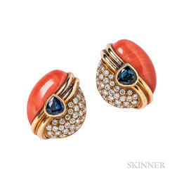 18kt Gold, Coral, Sapphire, and Diamond Earclips
