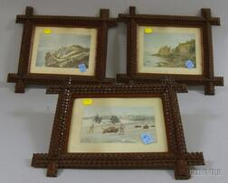 Set of Three Tramp Art Notch-carved Wooden Frames