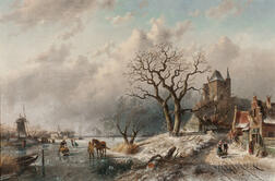 Charles Henri Joseph Leickert (Dutch, 1816-1907)      Animated Winter Landscape with Skaters