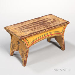 Yellow Paint-decorated Pine Stool