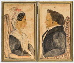 American School, 19th Century      Pair of Portraits of Abner and Dorothy Wood Brigham