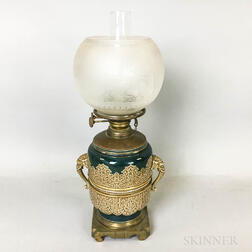 R. Hollings & Co. Brass-mounted Majolica Lamp
