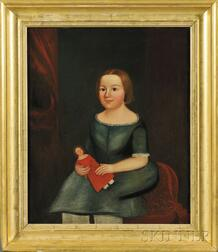 Attributed to Horace Bundy (American, 1814-1883)      Portrait of a Young Girl Holding a Doll.