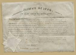 Madison, James (1751-1836) and James Monroe (1758-1831) Signed Military Commission, 20 February 1815.