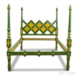 Custom Folk Geometric-carved and Painted Bed