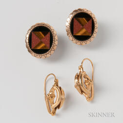 French 18kt Gold Earpendants and 14kt Gold Pietra Dura Earrings