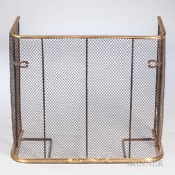 Brass and Iron Wirework Fire Screen