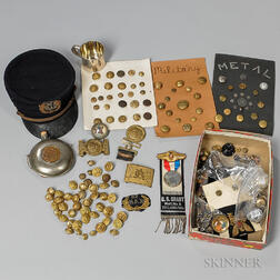 Grand Army of the Republic Cap and Related Items with a Large Group of 19th and 20th Century Military Buttons