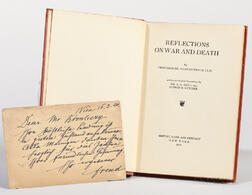 Freud, Sigmund (1856-1939) Reflections on War and Death  , with an Autograph Postcard Signed by Freud.