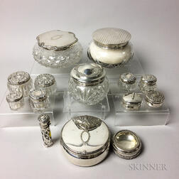 Group of Cut Glass and Sterling Silver Vanity Items