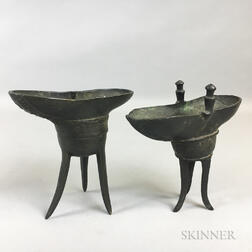 Two Bronze Jue Vessels