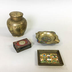 Three Chinese Enameled Desk Items and a Small Brass Jar