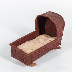 Red-painted Woven Splint Doll's Cradle