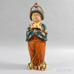 Tang-style Figure of a Lady with Pekingese Dog