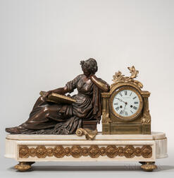 Patinated and Dore Bronze Clock