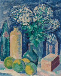 Francisco Narváez (Venezuelan, 1905-1982)      Still Life with Flowers, Bottles, and Fruit