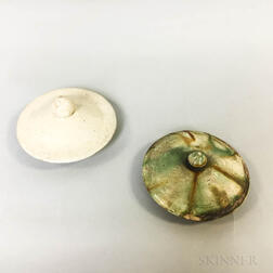 Two Pottery Jar Covers