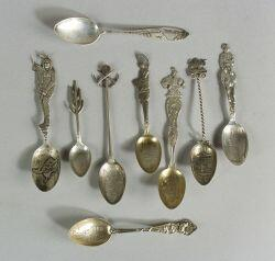 Group of Thirty-one Sterling Souvenir Spoons of Western States
