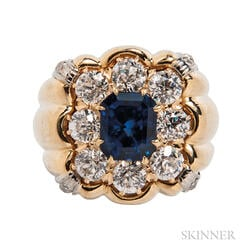 18kt Gold, Sapphire, and Diamond Ring
