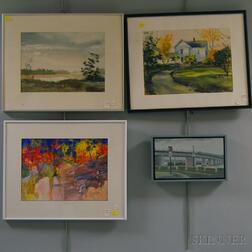 Four Framed American Landscapes:      Lucy Clark, East Potomac Park, signed, dated, and inscribed