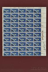 Astronaut Signatures; Signed Sheet of Project Mercury Stamps.